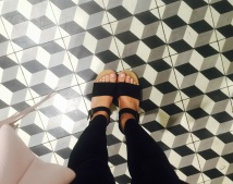 My Sven clogs look great against the Oxford Exchange's bathroom tile